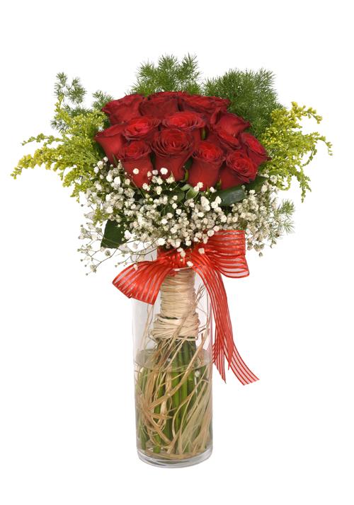 Cam Vazoda 15 Kırmızı Gül,Cipsofilya ve Yeşillikler