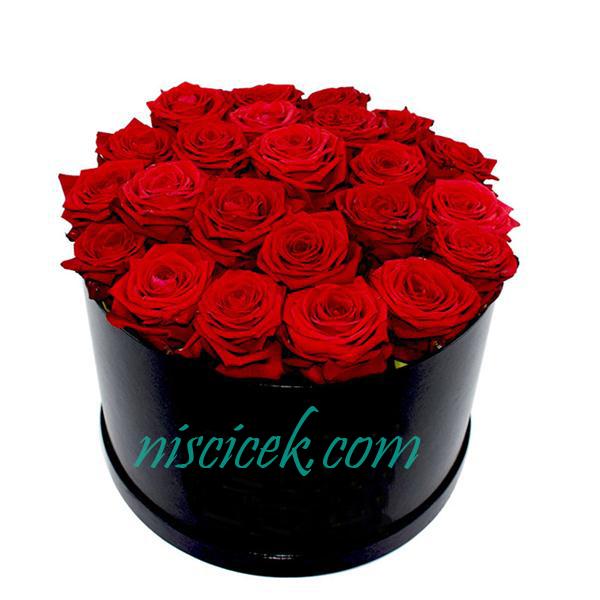 Siyah Kutuda 23 Kırmızı Gül