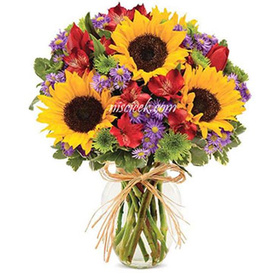 Cam Vazoda Ay Çiçekleri ve Mevsim Çiçekleri - Ürün Kodu:486