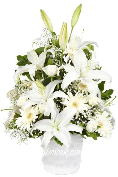 Seramik Saksıda Lilyumlu Beyaz Aranjman - Ürün Kodu:447