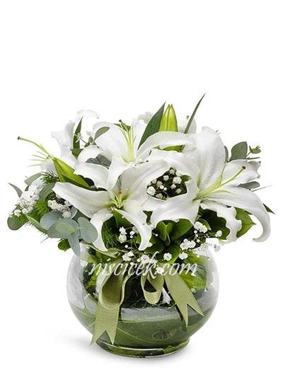Cam Akvaryumda Lilyum Aranjmanı - Ürün Kodu:449