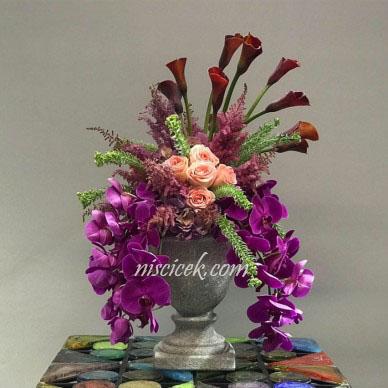 Seramik Saksıda Orkide,Gül,Gala ve Yeşillikler - Ürün Kodu:467