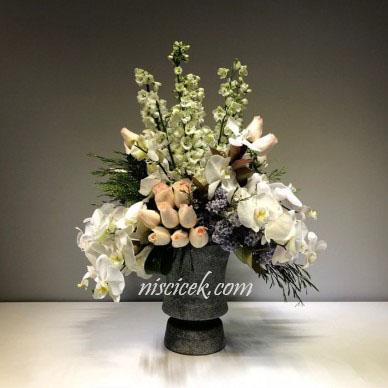Seramik Saksıda Orkide,Gül,Şebboy Tanzim - Ürün Kodu:465