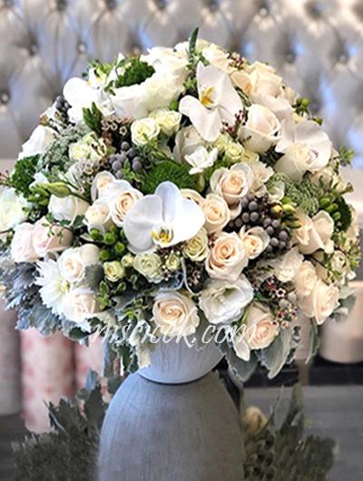 Seramik Saksıda Orkide,Güller,Mevsim Çiçekleri ve Yeşillikler - Ürün Kodu:474
