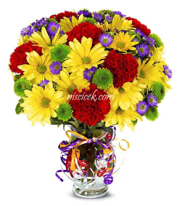 Cam Vazoda Renkli Mevsim Çiçekleri  - Ürün Kodu:491