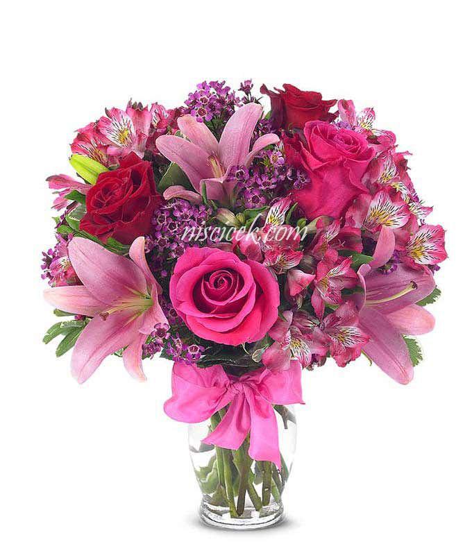 Cam Vazoda Pembe Mevsim Çiçekleri Tanzim - Ürün Kodu:487