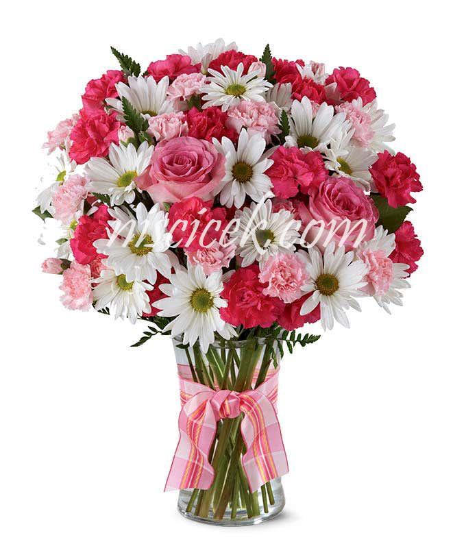 Cam Vazoda Pembe Beyaz Güllü Mevsim Çiçekleri - Ürün Kodu:588