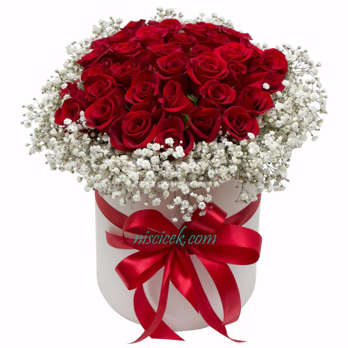 Kutuda 30 Adet Kırmızı Güller ve Cipsofilyolar