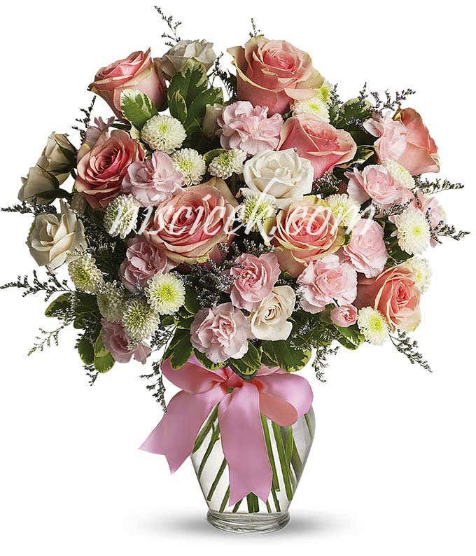Cam Vazoda 9 Pembe Gül,Pembe Beyaz Mevsim Çiçekleri - Ürün Kodu:601