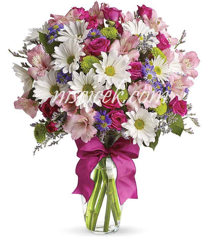 Cam Vazoda Pembe Güller ve Pembe Mor Beyaz Mevsim Çiçekleri - Ürün Kodu:604