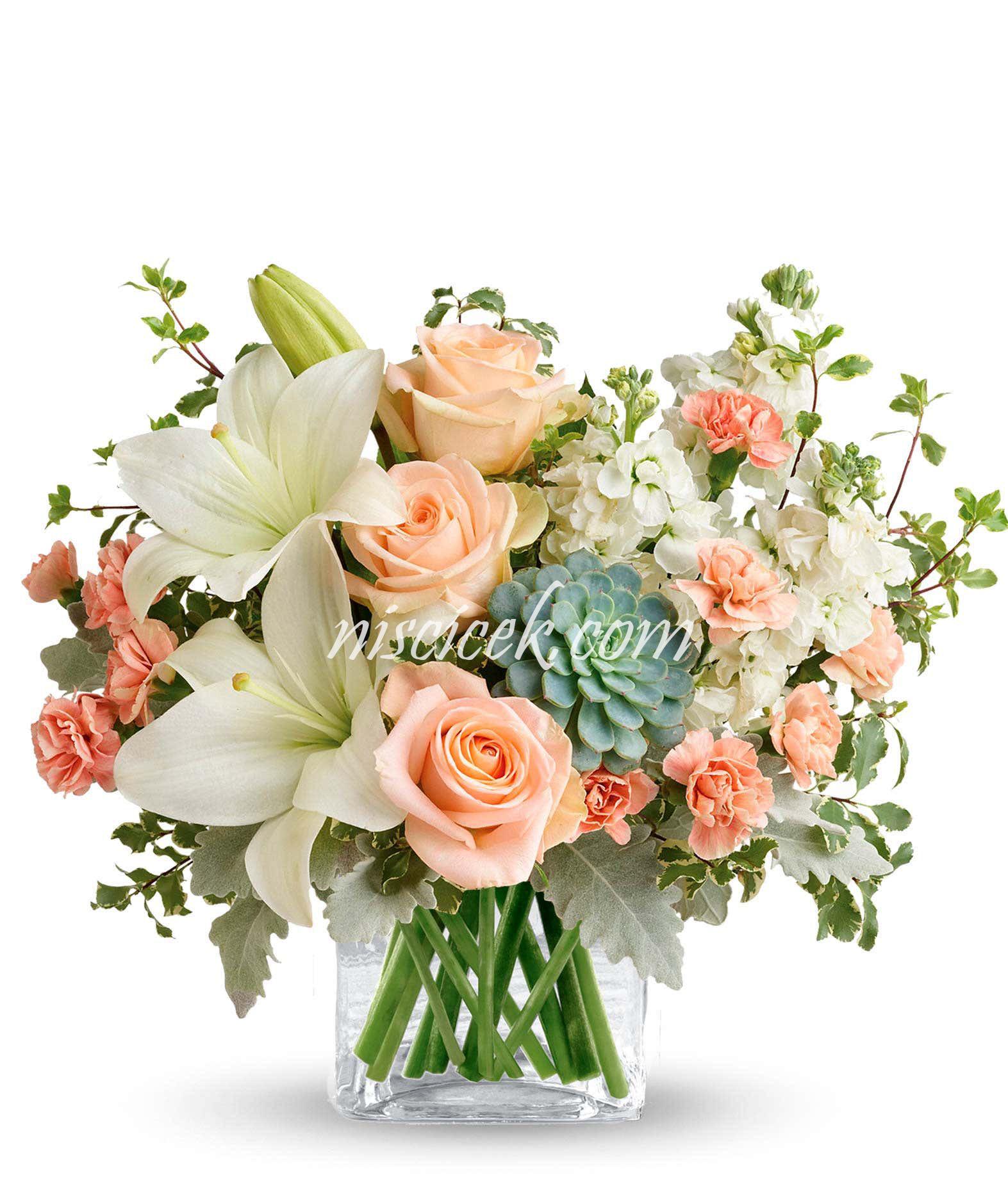 Cam Vazoda İthal Pembe Gül,Lilyum,Şebboy ve Pembe Mevsim Çiçekleri - Ürün Kodu:606