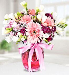 Cam Vazoda Pembe Beyaz Renkli Çiçekler - Ürün Kodu:498