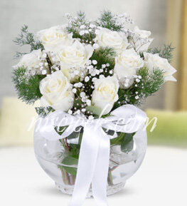 Cam Akvaryumda 9 Beyaz Gül ve Cipsofilya - Ürün Kodu:507