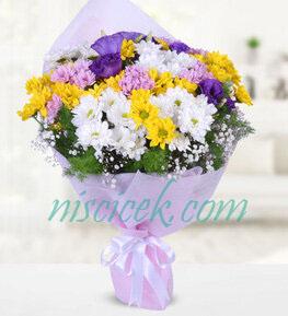 Renkli Mevsim Çiçekleri Buketi - Ürün Kodu:820