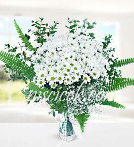 Cam Vazoda Kır Çiçekleri,Cipsofilya ve İthal Yeşillikler - Ürün Kodu:511