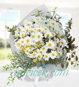 Beyaz Mevsim Çiçekleri Buketi - Ürün Kodu:822