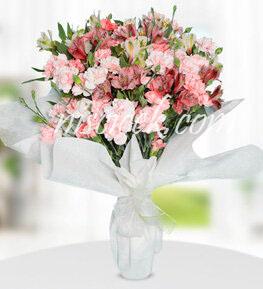 Cam Vazoda Pembe Beyaz Mevsim Çiçekleri - Ürün Kodu:520