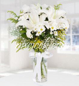 Cam Vazoda Lilyum,Kır Çiçekleri ve Cipsofilya - Ürün Kodu:534