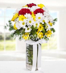 Cam Vazoda Renkli Mevsim Çiçekleri ve İthal Yeşillikler - Ürün Kodu:539