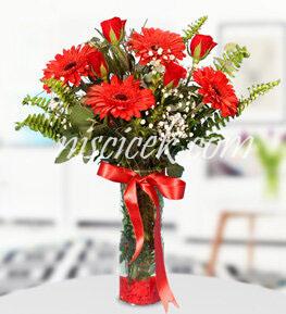 Cam Vazoda 5 Kırmızı Gül,Gerbera,Cipsofilya ve İthal Yeşillikler - Ürün Kodu:546 - Ürün Kodu:515