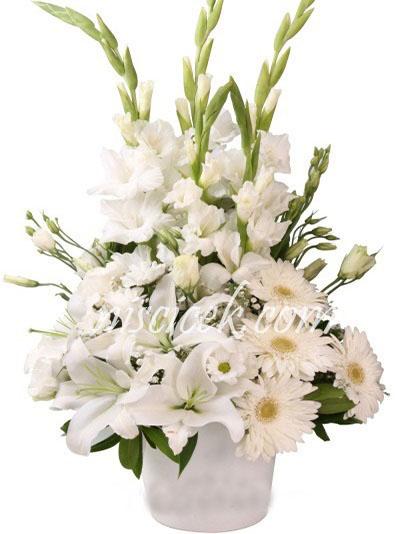 Seramik Saksıda Beyaz Lilyum,Kır Çiçekleri,Lisyantus ve Gerbera - Ürün Kodu:574