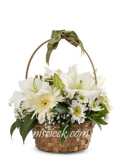 Sepette Beyaz Lilyum,Gerbera,Kır Çiçeği ve Cipsofilya - Ürün Kodu:586
