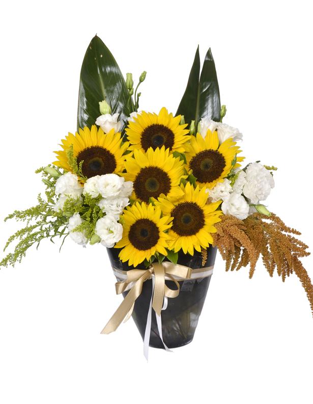 Cam Vazo İçersinde Ay Çiçekleri