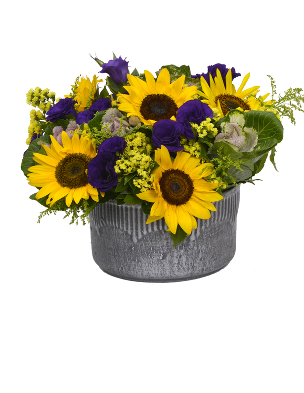 Seramik Saksıda Ayçiçekleri,Mor Lisyantus ve Yeşillikler