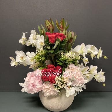 Seramik Saksıda Orkide,Ortanca,Gül Tanzim Aranjman - Ürün Kodu:590