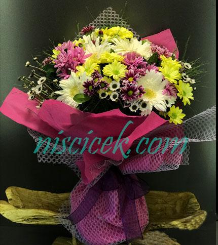 Karışık Renkli Mevsim Çiçekleri Buketi - Ürün Kodu:846