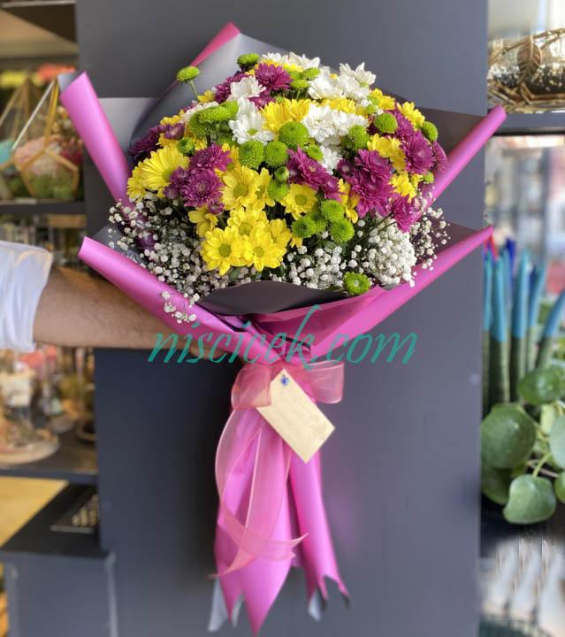 Karışık Renkli Mevsim Çiçekleri Buketi - Ürün Kodu:845