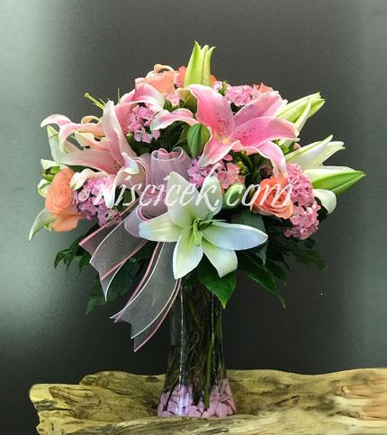 Cam Vazoda Lilyumlu Pembe Beyaz Tanzim - Ürün Kodu:596