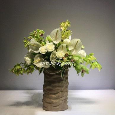 Seramik Saksıda Antoryum,Orkide,Gül Aranjman - Ürün Kodu:600
